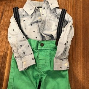 Great condition green pants and boat theme shirt